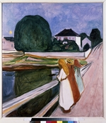 Munch, Edvard - White night. Asgardstrand (Girls on the bridge)
