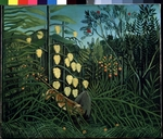 Rousseau, Henri Julien Félix - In a tropical Forrest. Struggle between Tiger and Bull