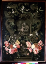 Seghers, Daniel - Madonna and Child, Saint Elisabeth and John the Baptist as child in a floral garland