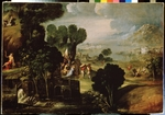 Dossi, Dosso, (Circle of) - Landscape with scenes from Lives of the Saints