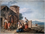 Zais, Giuseppe - A group of peasants before the tabernacle with the Standing Madonna statue