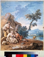 Zais, Giuseppe - Three peasants resting on a river bank