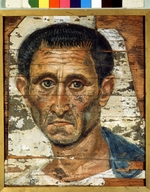Fayum mummy portraits - Portrait of a Middle-agged Man in a blue Cloak
