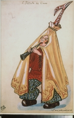 Sudeykin, Sergei Yurievich - Costume design for the ballet Petrushka by I. Stravinsky