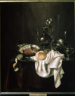 Heda, Willem Claesz - Still life with ham and silver crockery