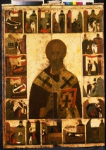 Russian icon - Saint Nicholas with scenes from his life