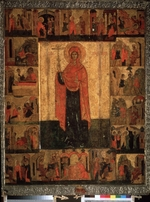 Russian icon - Saint Paraskeva Pyatnitsa with Scenes from Her Life