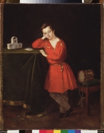 Russian master - A Boy in a Red Shirt with House of Cards on the Table
