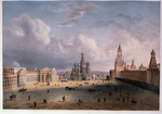 Hostein, Edouard Jean Marie - View of the Red Square in Moscow