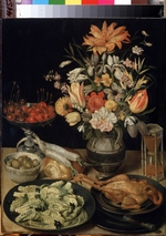 Flegel, Georg - Still life with flowers and snack