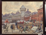 Vasnetsov, Appolinari Mikhaylovich - Ancient Moscow. Departure after a fist fighting