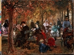 Menzel, Adolph Friedrich, von - In the Jardin de Luxembourg (A reminiscence of the Jardin de Luxembourg)
