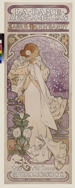Mucha, Alfons Marie - Poster for the play La Dame aux Camelias by A. Dumas in the Theatre de la Renaissanse (Upper part)