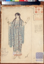 Bakst, Léon - Lady-in-waiting. Costume design for the drama Hippolytus by Euripides