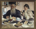 Repin, Ilya Yefimovich - The author Leo Tolstoy with his wife in Yasnaya Polyana