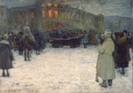 Vakhrameyev, Alexander Ivanovich - A Fire at the Lithuanian Castle. February revolution 1917. St. Petersburg