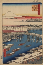 Hiroshige, Utagawa - Clearing Weather after Snow at Nihon Bridge (One Hundred Famous Views of Edo)