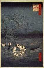 Hiroshige, Utagawa - Fox Fires on New Year's Eve at the Garment Nettle Tree at Oji (One Hundred Famous Views of Edo)