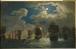 Hackert, Jacob Philipp - The naval Battle of Chesma on the night 26 July 1770