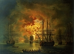 Hackert, Jacob Philipp - The Destruction of the Turkish Fleet at the Bay of Chesma