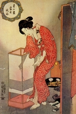 Kunisada (Toyokuni III), Utagawa - Beauty beside a standing lantern (From the series Starfrost Contemporary Manners)