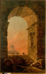 Robert, Hubert - Landscape with an Arch and the St. Peter's Basilica in Rome