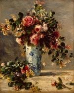 Renoir, Pierre Auguste - Roses and Jasmine in a Delft Vase