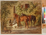 Adam, Albrecht - Horses at the Porch