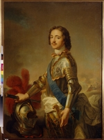 Nattier, Jean-Marc - Portrait of Emperor Peter I the Great (1672-1725) in a knight armor