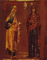 Russian icon - Mother of God of the Burning Bush (Isaiah and Virgin Mary with Child)