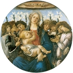 Botticelli, Sandro - Virgin and Child with Eight Angels (Berlin Madonna or Raczynski Tondo). Tondo