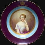 Russian Master - Plate with Portrait of Grand Duchess Catherine Mikhailovna of Russia (1827-1894), Duchess of Mecklenburg-Strelitz