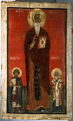 Russian icon - Saint John Climacus with Saint George and Saint Blaise