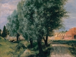 Menzel, Adolph Friedrich, von - Building Site with Willows