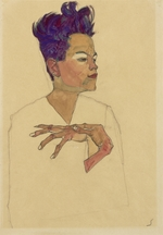 Schiele, Egon - Self-Portrait with Hands on Chest