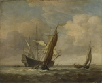 Velde, Willem van de, the Younger - Two Small Vessels and a Dutch Man-of-War in a Breeze