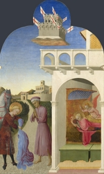 Sassetta - Saint Francis and the Poor Knight, and Francis's Vision (From Borgo del Santo Sepolcro Altarpiece)