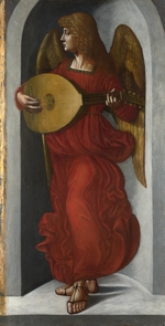 De Predis, Giovanni Ambrogio - An Angel in Red with a Lute