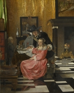 Dutch master - An Interior, with a Woman refusing a Glass of Wine