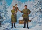 Anonymous - Happy Family. Kim Il-sung and his wife Kim Jong-suk with son Kim Jong-Il