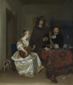 Ter Borch, Gerard, the Younger - A Woman playing a Theorbo to Two Men