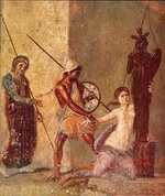 Roman-Pompeian wall painting - Ajax the Lesser drags Cassandra away from the Xoanon