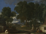 Poussin, Nicolas - Landscape with a Man washing his Feet at a Fountain