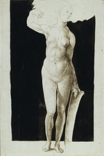 Dürer, Albrecht - Proportion study of female nude with a shield