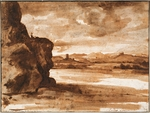 Lorrain, Claude - Tiber Landscape North of Rome with Dark Cloudy Sky