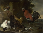 Hondecoeter, Melchior de - A Cock, Hens and Chicks