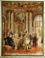 Menzel, Adolph Friedrich, von - The Round Table of Frederick II at Sanssouci (sketch)