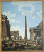 Pannini (Panini), Giovanni Paolo - A capriccio with Roman ruins and a scene from the Life of Belisarius