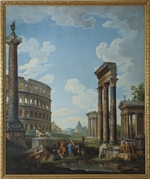 Pannini (Panini), Giovanni Paolo - A capriccio with figures among Roman ruins including the Arch of Constantine and the Pantheon