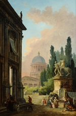 Robert, Hubert - View of Rome with the Horse Tamer of the Monte Cavallo